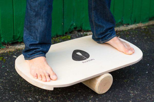 Balance board outside garage
