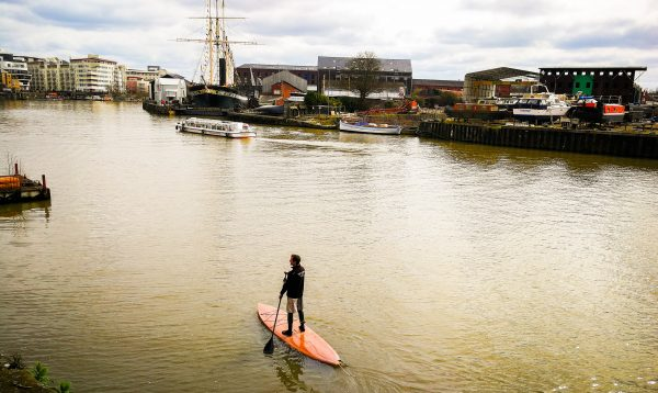 Touring SUP in front of SS Great Britain on Bristol Harbour